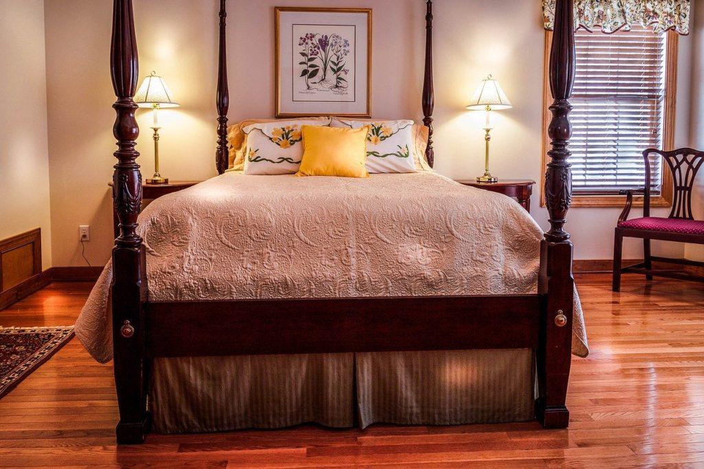 Hardwood flooring in a bedroom